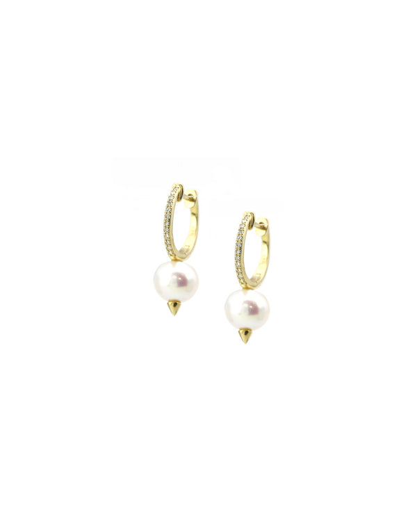14K Gold Pearl Spike Huggie Hoops