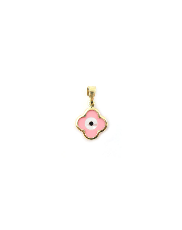 14K Gold Greek Pink Evil Eye Clover Charm