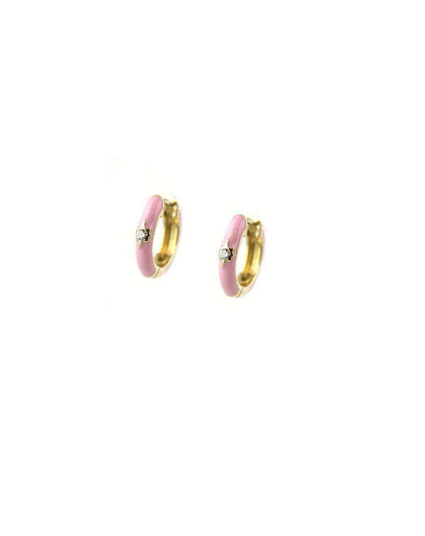 Pink Enamel Diamond Huggies
