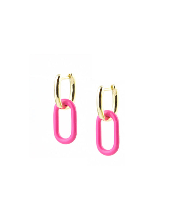 Pink Enamel Chain Link Earrings