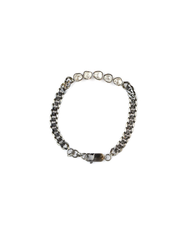 Polki Diamond Curb Chain Link Bracelet