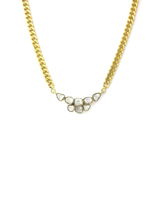 Gold Polki Diamond Cluster Necklace