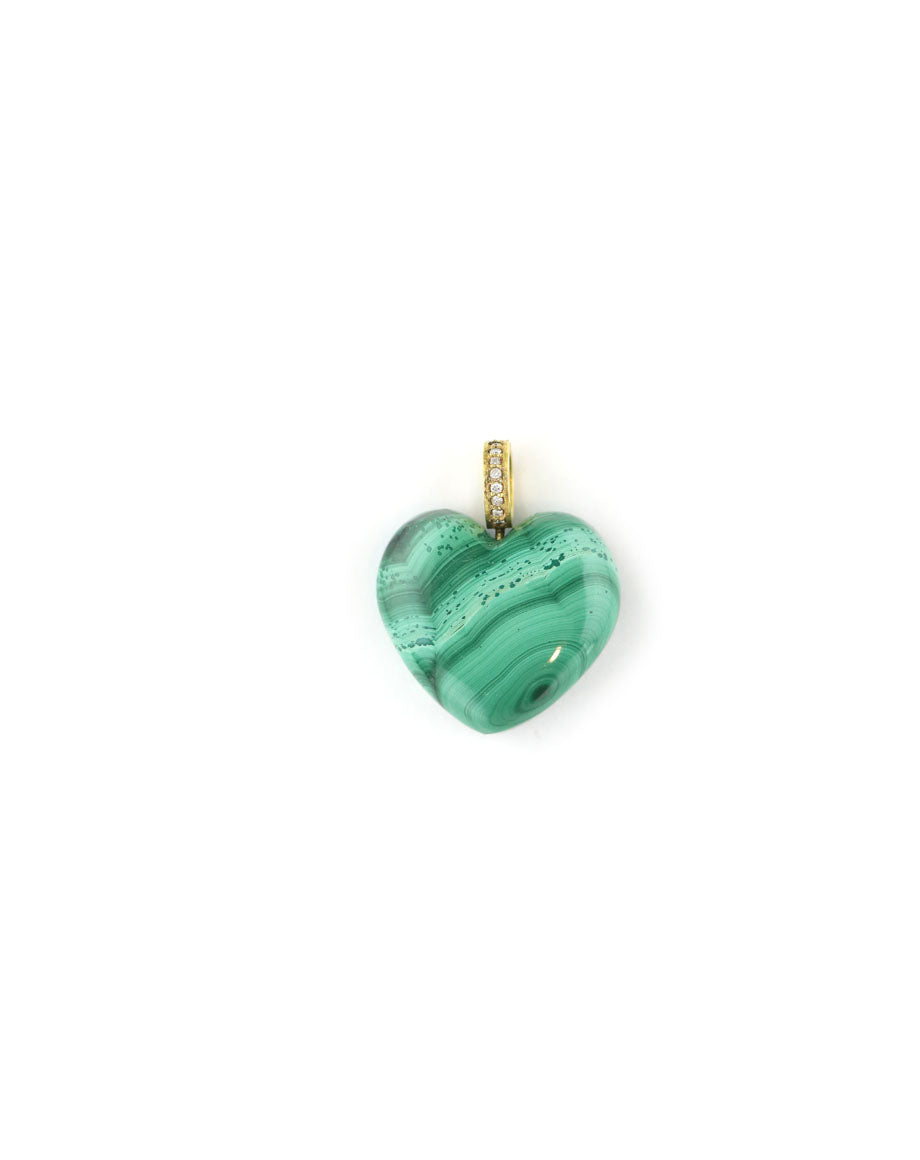 14K Gold Puffy Malachite Heart Charm