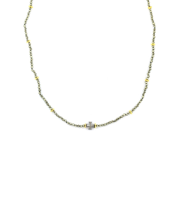 Pyrite Diamond Cross Necklace