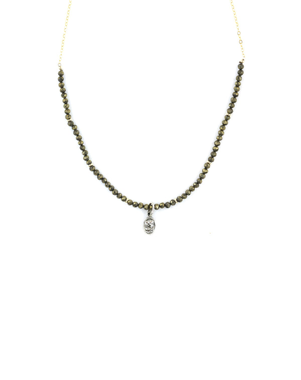 Silver Saint Charm Necklace - Pyrite & Gold