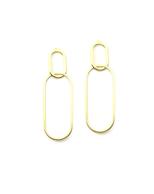 Gold Rectangle Link Earrings