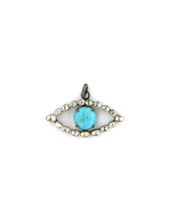 Turquoise & Rose Cut Diamond Evil Eye Pendant