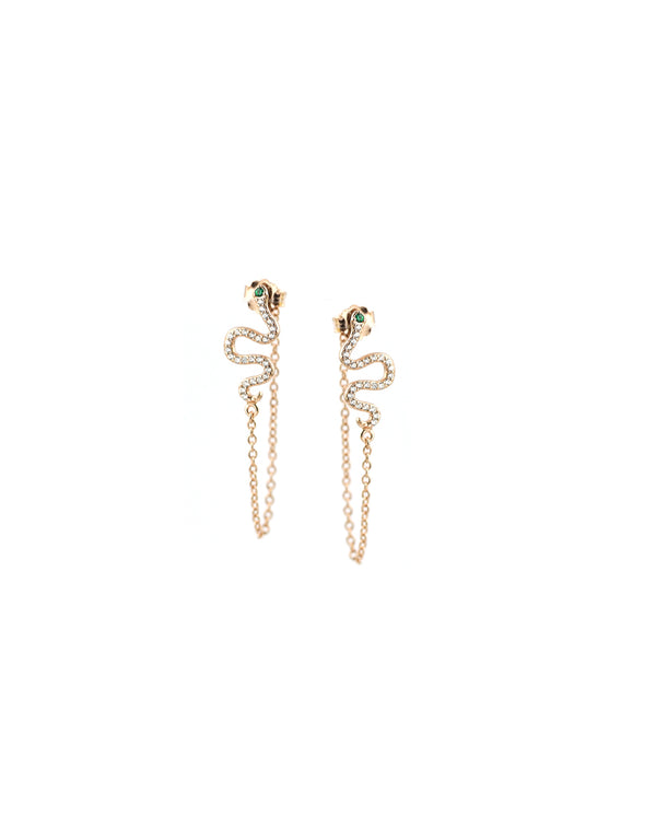 Rose Gold Snake Chain Studs