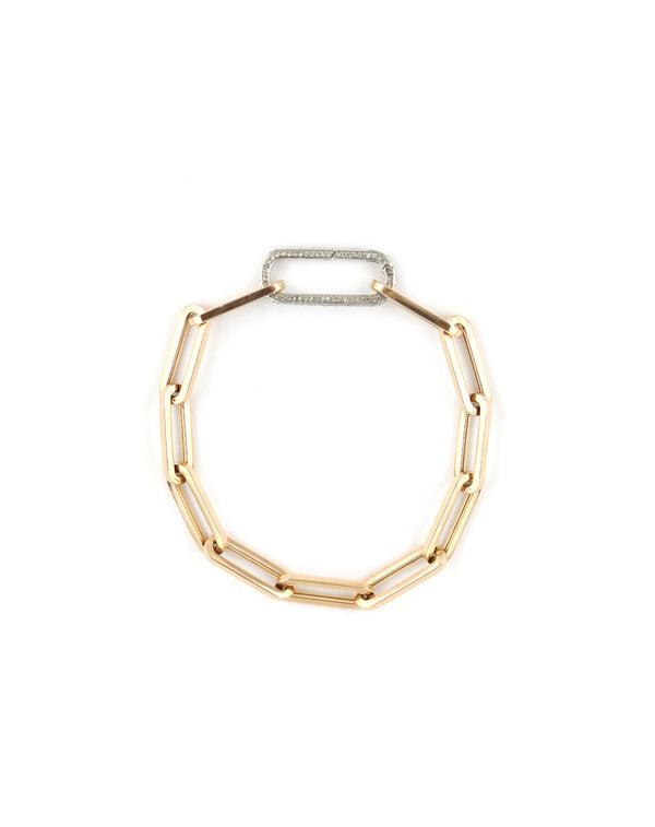 14K Rose Gold Paper Clip + White Gold Lock Bracelet