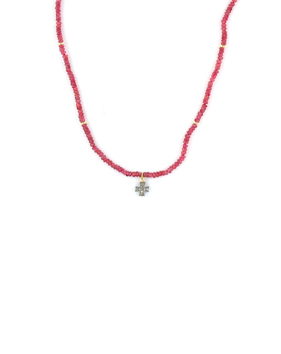 Ruby & Diamond Cross Necklace