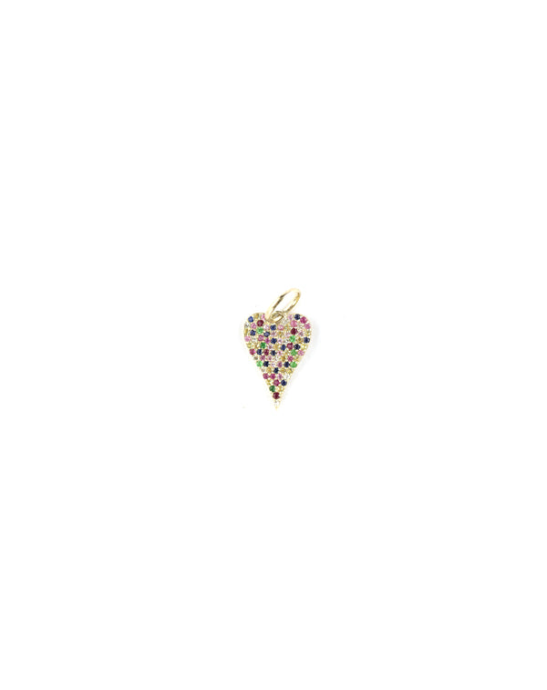 14K Gold Colorful Sapphire Heart Charm