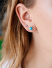 Small Sleeping Beauty Turquoise and Diamond Stud Earrings
