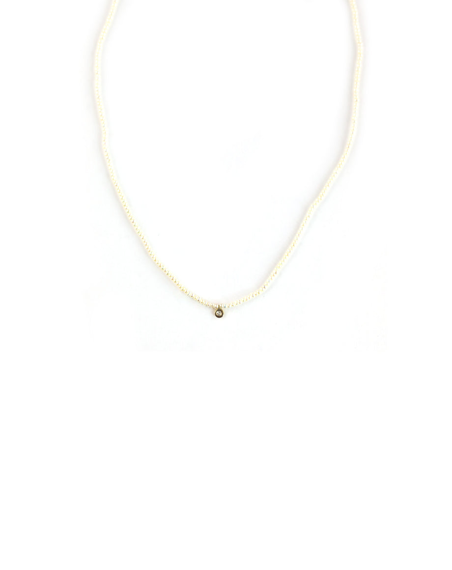 14K Gold Tiny Seed Pearl Diamond Necklace