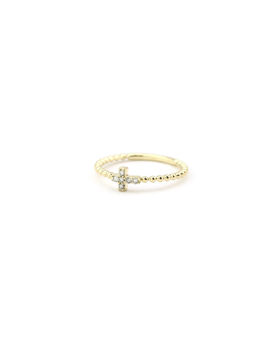 14K Gold Diamond Cross Ring