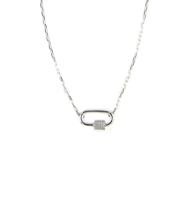 Silver Carabiner Crystal Necklace