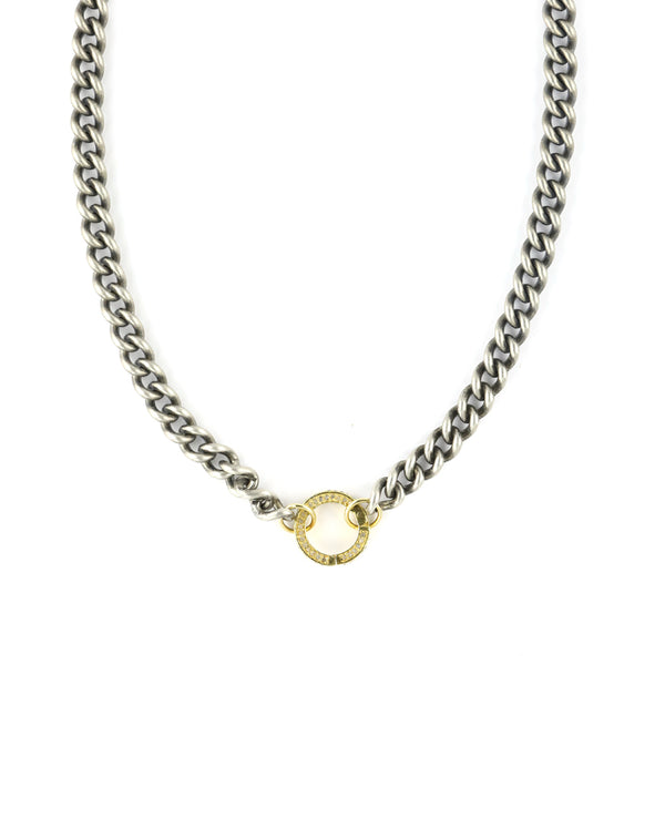 Solid Silver Curb Chain Gold Lock Necklace