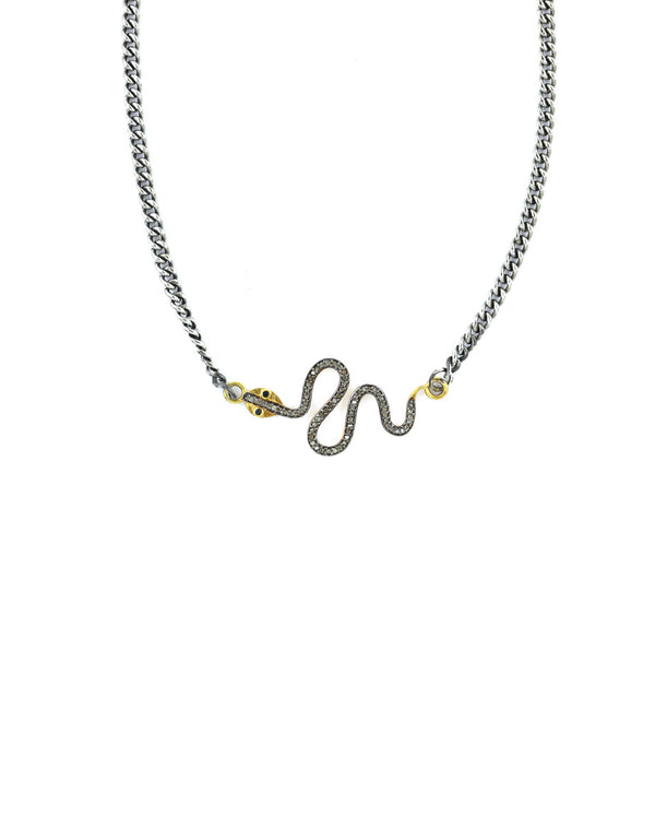 Diamond Snake Silver Curb Chain Necklace