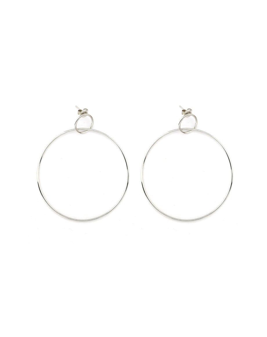 Thin Silver Door Knocker Hoops