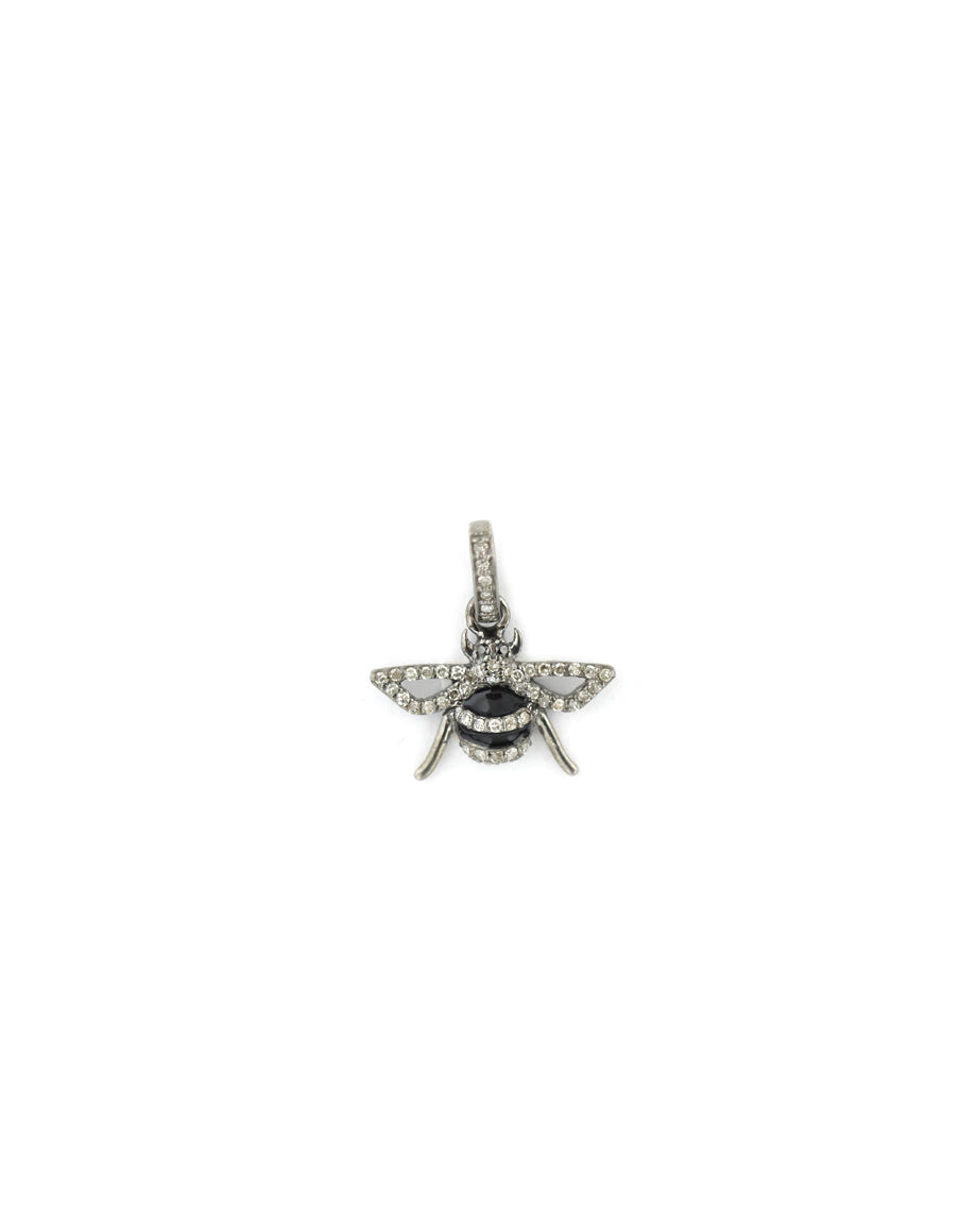 Mini Silver Black Diamond Bee Charm