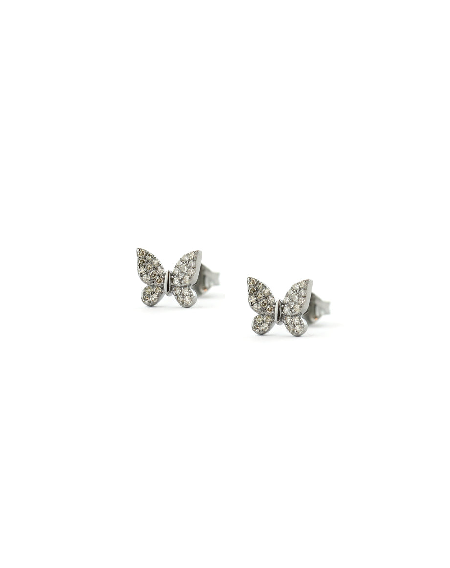 Tiny Silver Diamond Butterfly Studs