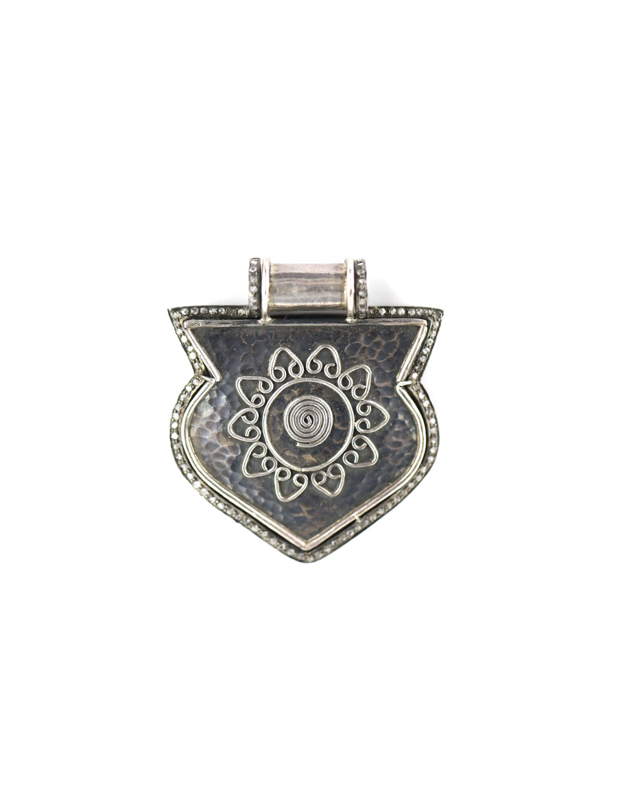 Silver Diamond Shield Pendant