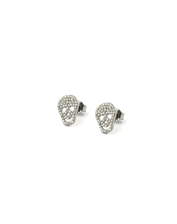 Small Diamond Silver Skull Studs