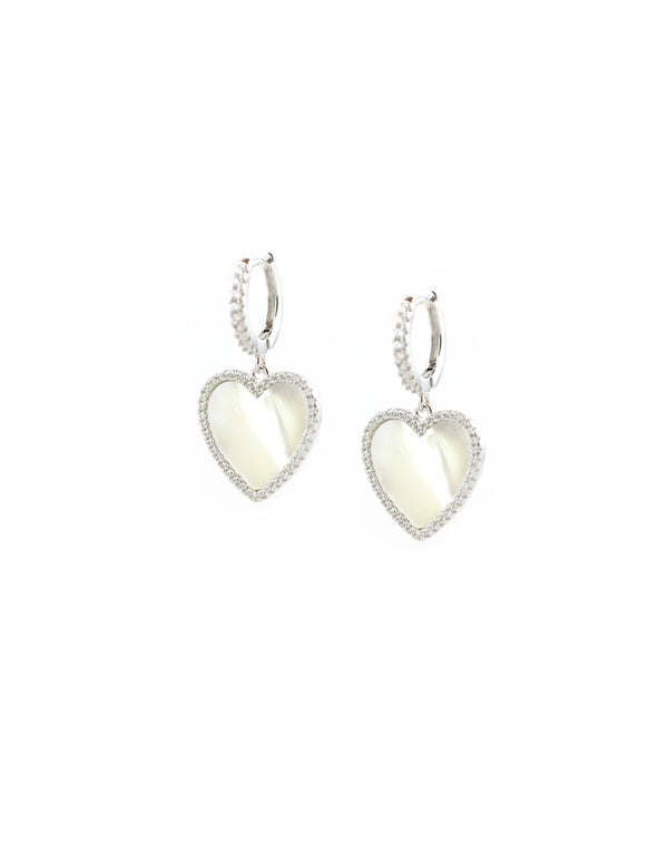 Silver Mother of Pearl Heart Charm Huggies