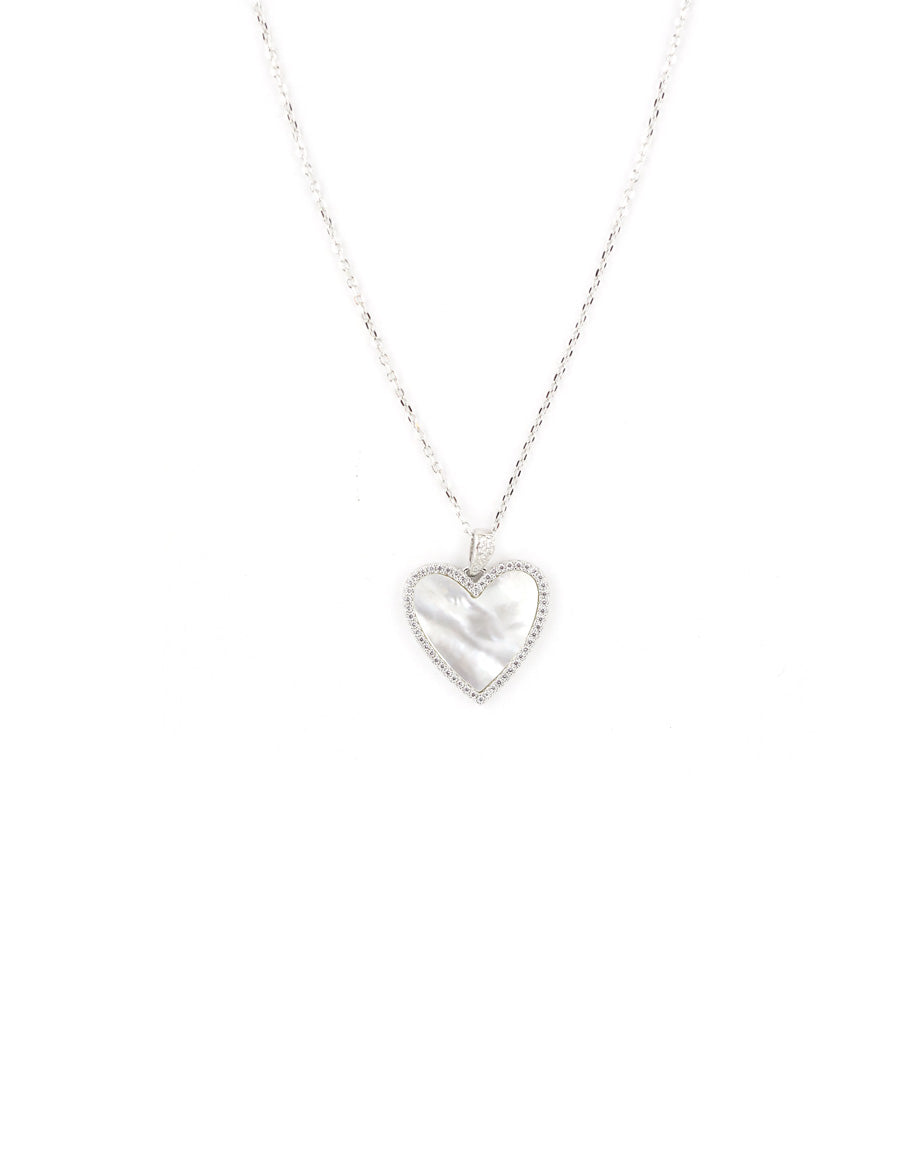 Silver Mother of Pearl CZ Heart Necklace