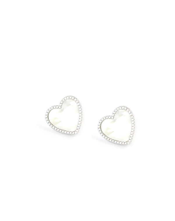 Silver Mother of Pearl Heart Studs