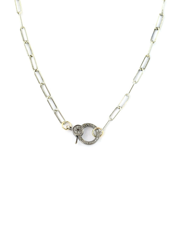 Silver Paper Clip Lock Necklace
