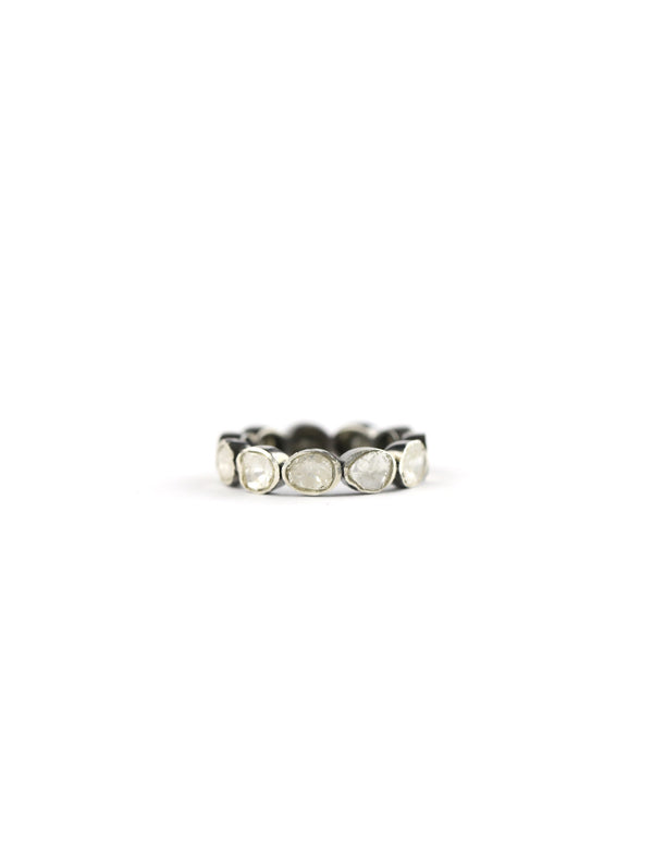 Silver Polki Diamond Eternity Ring