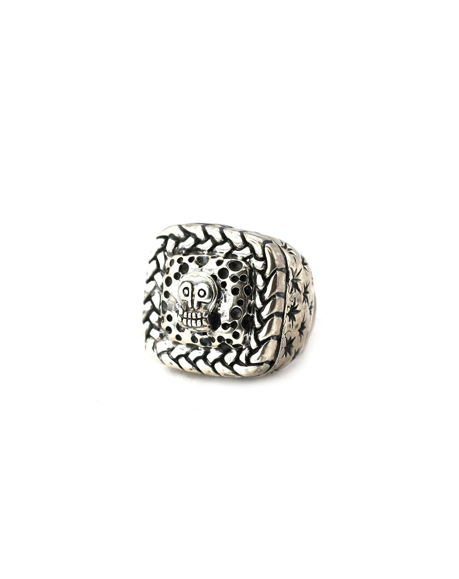 Dian Malouf Braided Square Skull Ring