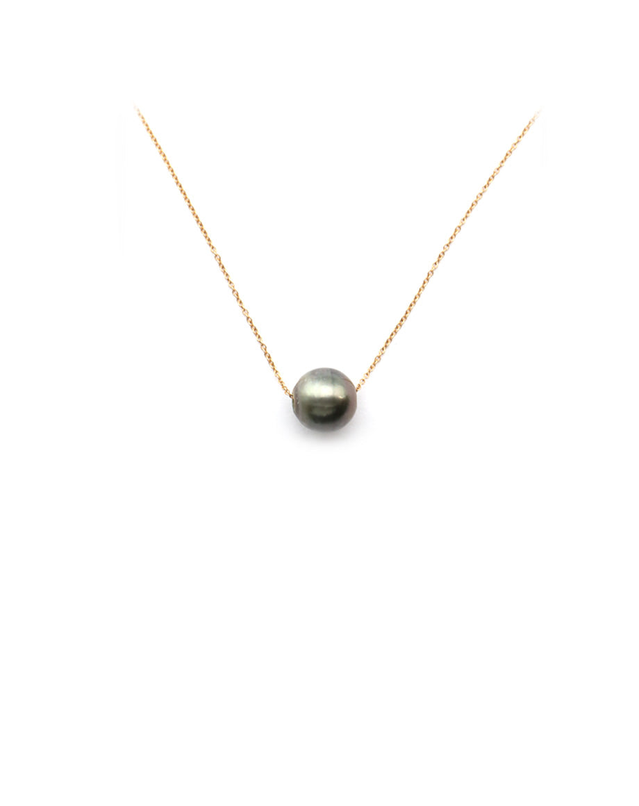 14K Gold Single Tahitian Pearl Necklace