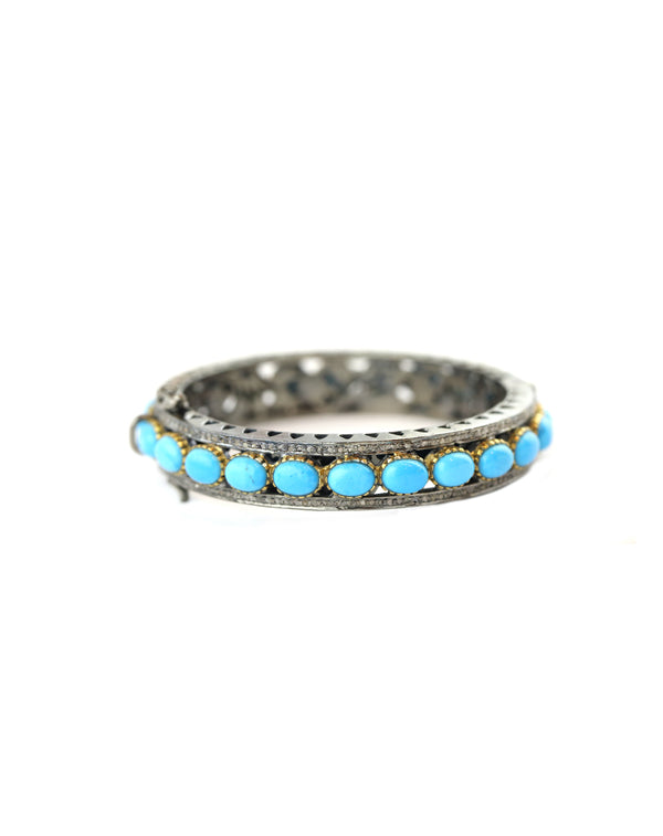 Sleeping Beauty Turquoise Diamond Bangle with Gold
