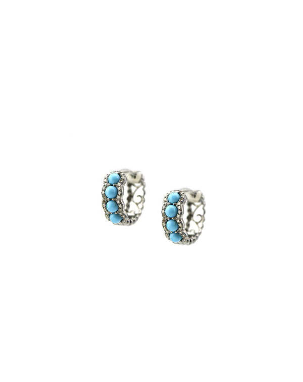 Sleeping Beauty Turquoise & Diamond Huggie Earrings