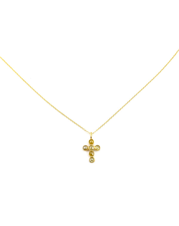 14K Sliced Diamond Cross Necklace