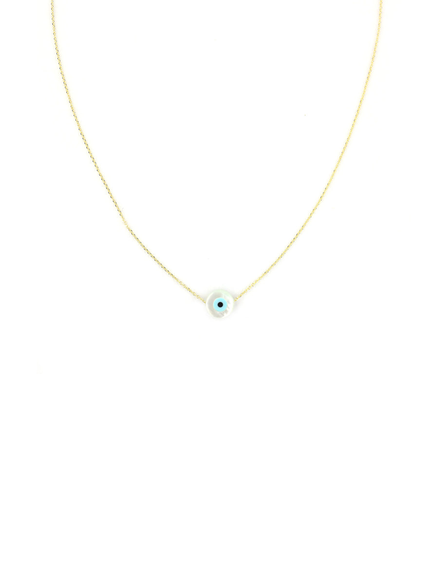 Gold Small Mother of Pearl Greek Evil Eye Necklace