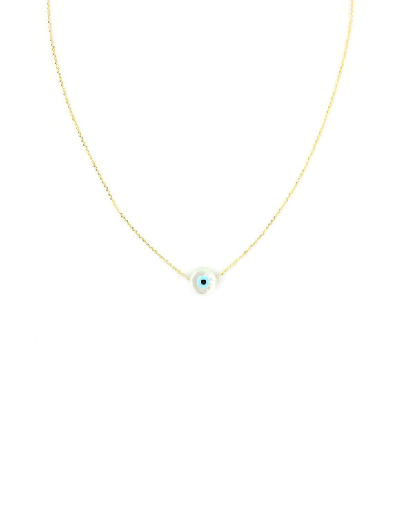 14K Gold Mother of Pearl Greek Evil Eye Necklace