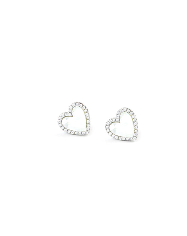 Small Silver Mother of Pearl Heart Studs