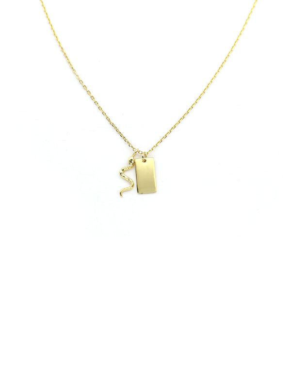 Gold Snake Charm Necklace