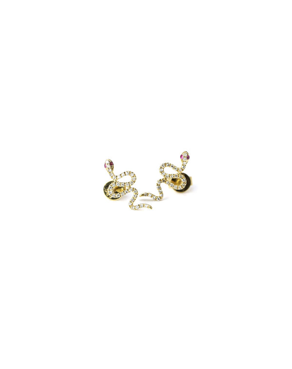 14K Gold Diamond Snake Studs