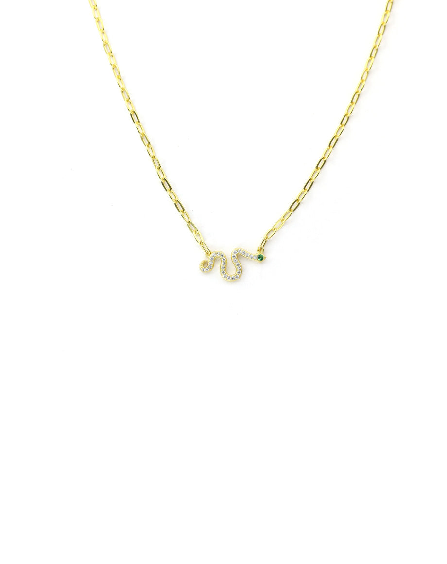 Gold Snake Paper Clip Necklace