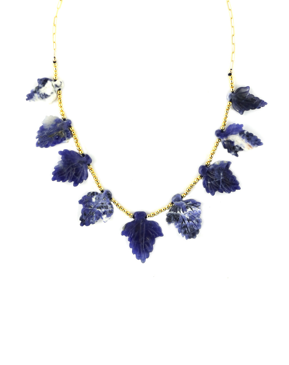 Carved Sodalite Leaf Necklace