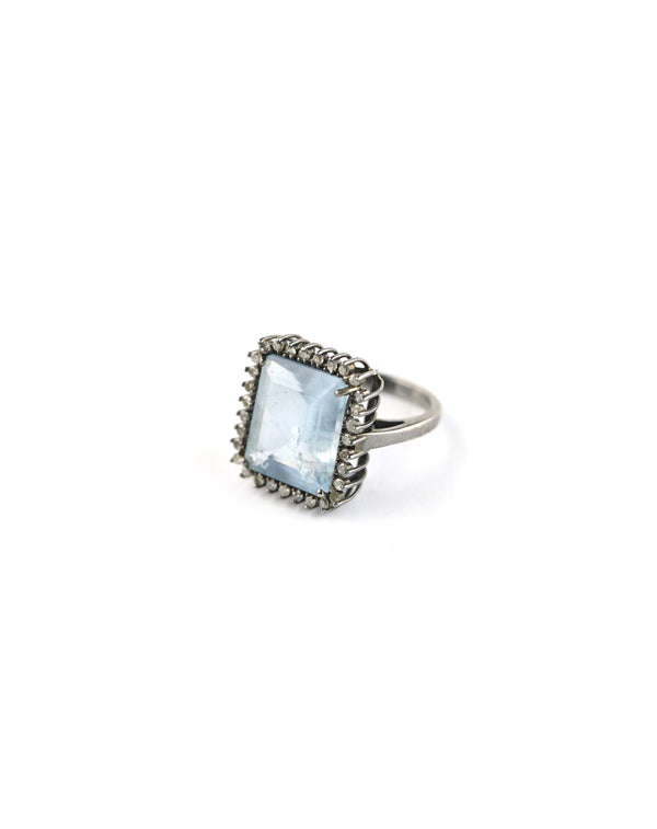 Diamond Square Aquamarine Ring