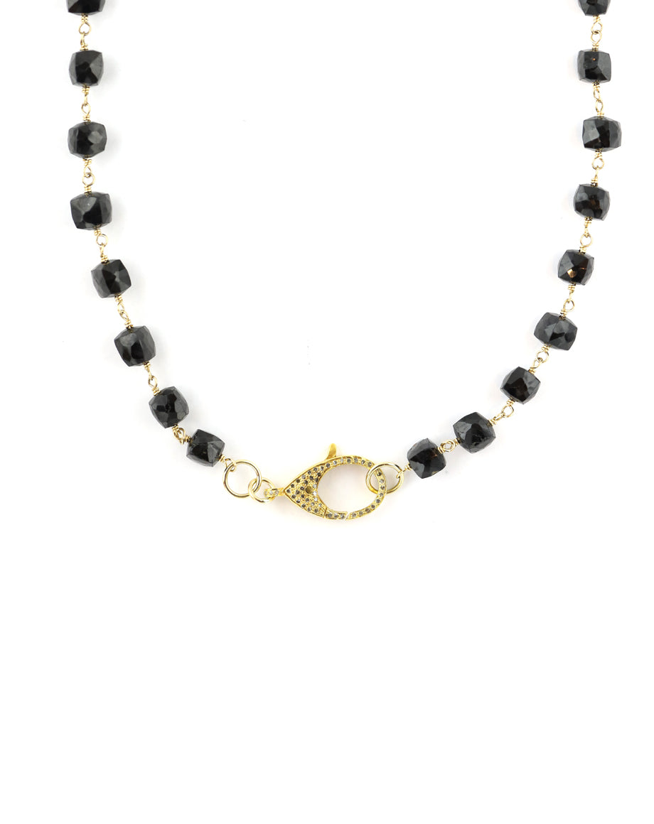 The Gem Lock Necklace: Black Square Onyx & Gold Lock