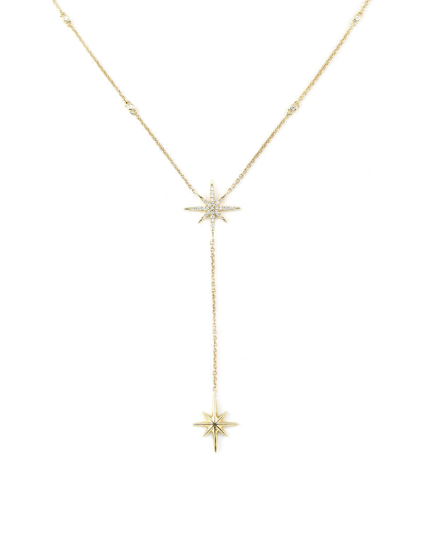14k gold compass lariat necklace
