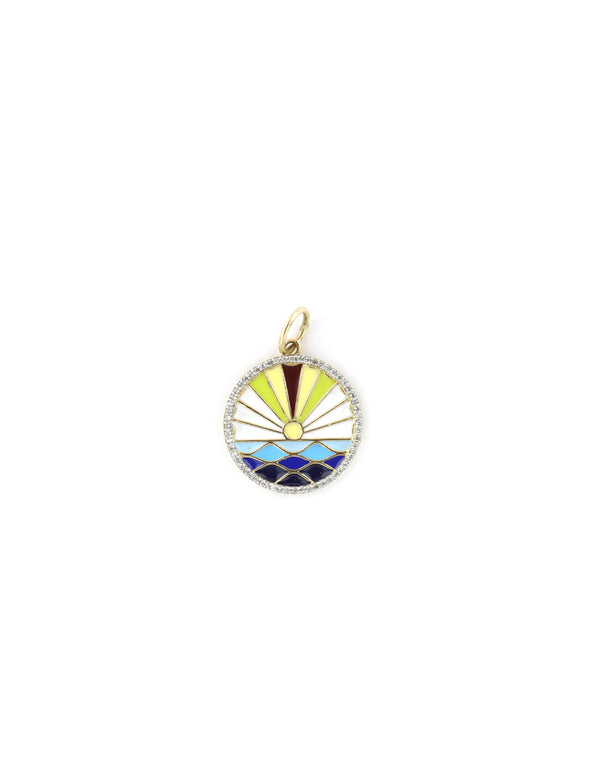 14K Gold Enamel Sunset Charm