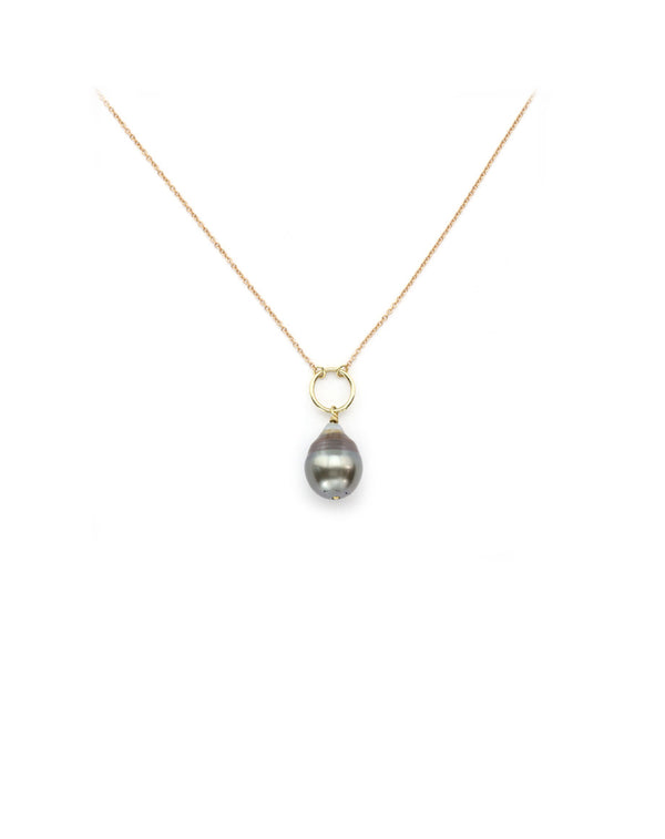 14K Mixed Metal Tahitian Pearl Drop Necklace