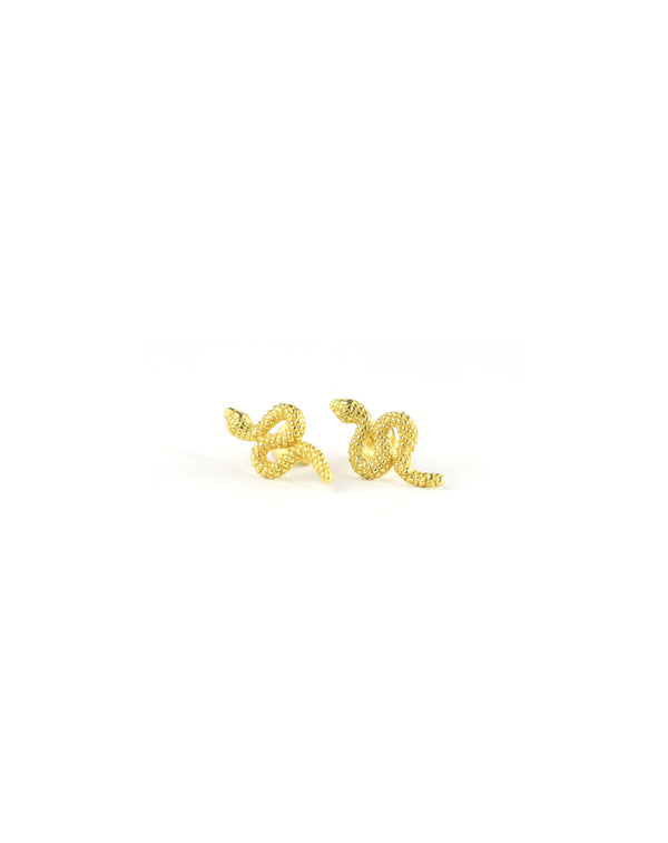 Textured Gold Snake Stud Earrings