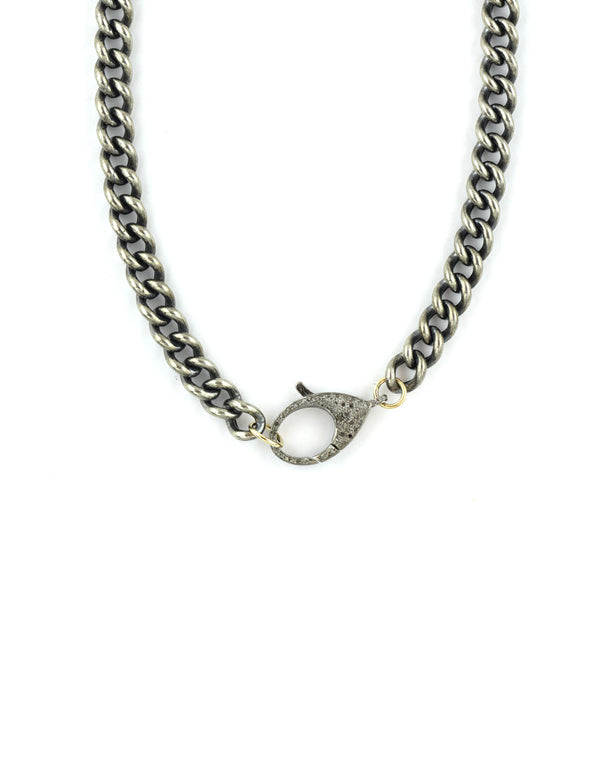 Chunky Curb Chain with Silver Diamond Lock